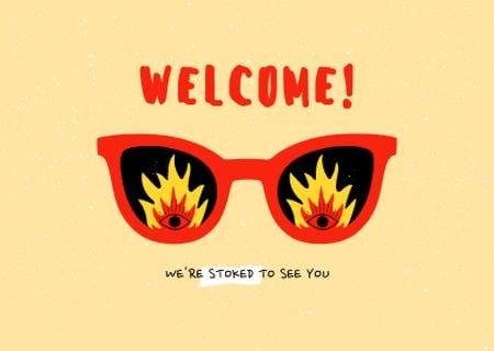 Plantilla de diseño de Funny Sunglasses with Fire Lenses Card