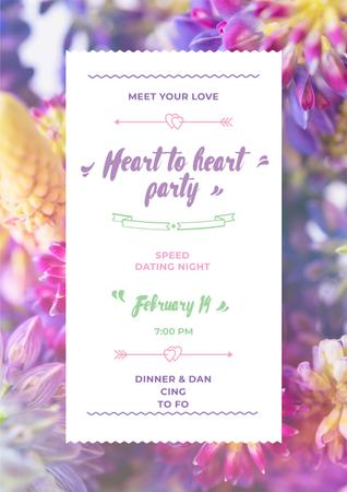Valentine's Party Invitation with Purple Flowers Poster Modelo de Design
