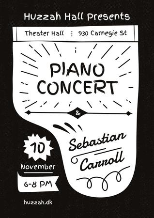 Ontwerpsjabloon van Poster van Concert Announcement with Grand Piano Silhouette
