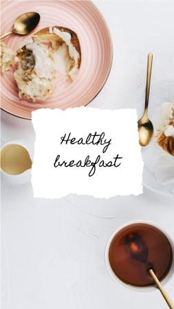 Template di design Breakfast with buns and tea Instagram Video Story