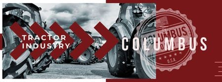 Tractors working in field Facebook cover Modelo de Design