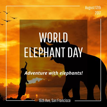 Plantilla de diseño de World Elephant Day greeting on sunset Instagram AD