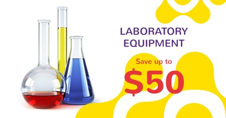 Laboratory Equipment Sale with Flasks Facebook AD – шаблон для дизайна
