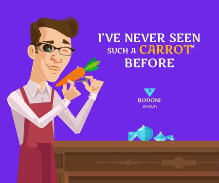Funny Illustration of Man exploring Carrot Facebook – шаблон для дизайна