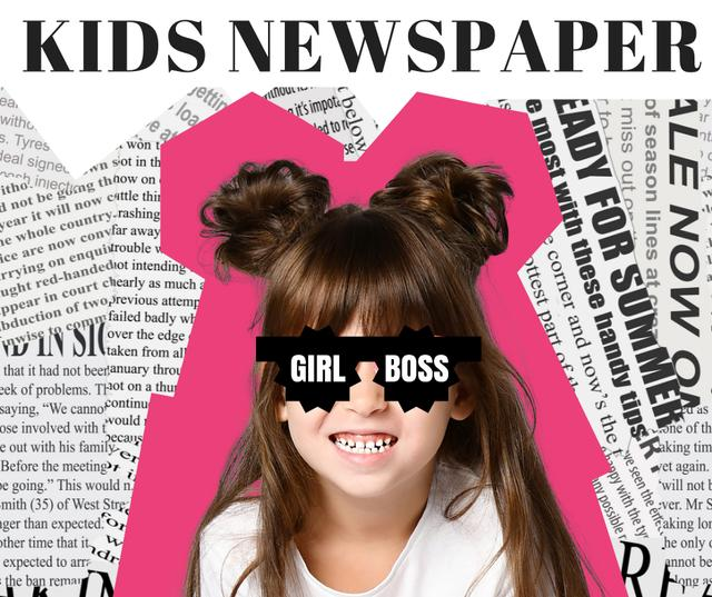 Kids Newspaper Ad with Funny Little Girl Facebook Modelo de Design