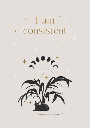 Mental Health Inspiration with Plant and Cat Poster Modelo de Design