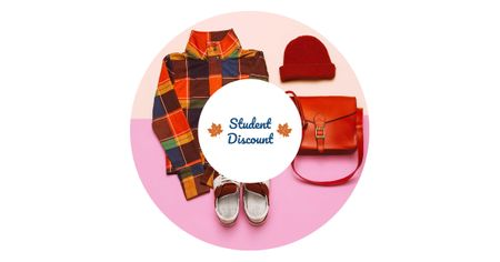 Student Discount Offer with Stylish Outfit Facebook AD Modelo de Design
