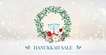 Hanukkah Sale with Menorah and Wreath