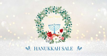 Hanukkah Sale with Menorah and Wreath Facebook AD – шаблон для дизайну