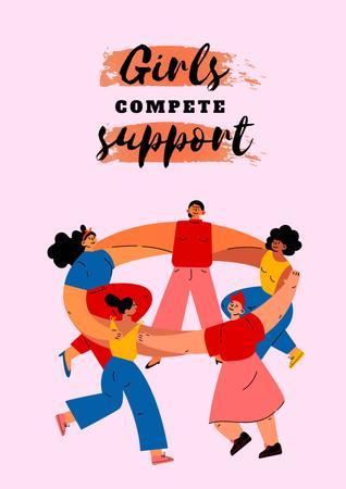 Girl Power Inspiration with Diverse Women Poster Design Template
