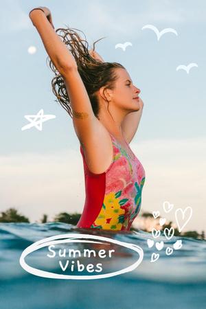 Plantilla de diseño de Summer Inspiration with Happy Girl in Car Pinterest