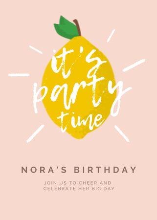 Template di design Birthday Party Announcement with Lemon Illustration Invitation