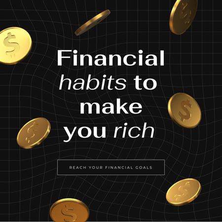 Designvorlage Financial Habits concept with Golden Coins für Instagram