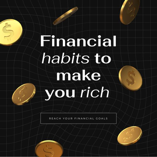 Financial Habits concept with Golden Coins Instagram Design Template