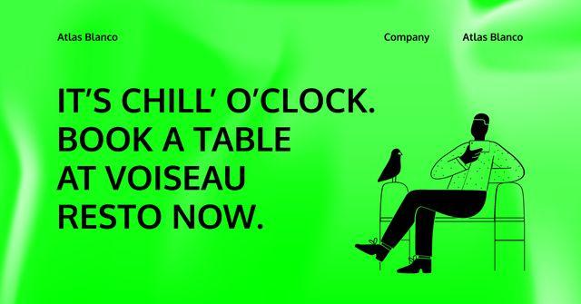 Restaurant Booking App Services with Man and Bird Facebook AD Modelo de Design