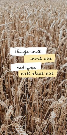Inspirational Citation with Wheat Field Graphic Design Template