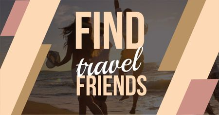 Designvorlage Travel motivational with people running on sandy beach für Facebook AD