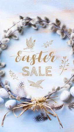Modèle de visuel Easter Sale Announcement with Pussy Willow Wreath - Instagram Story