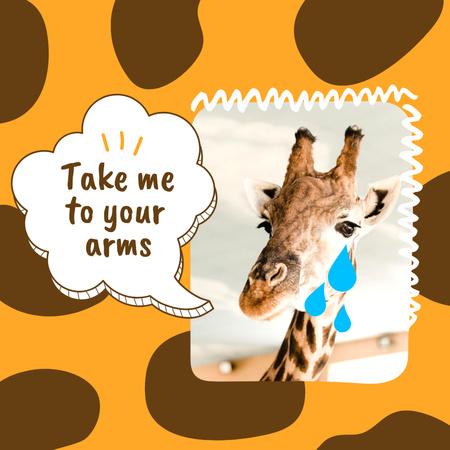 Template di design Funny Joke with Cute Giraffe Instagram