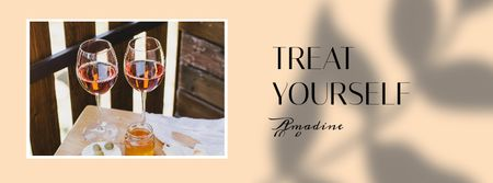Restaurant Offer Wine and snacks on table Facebook cover Modelo de Design