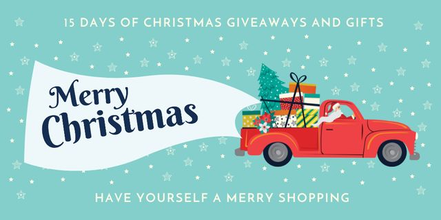 Christmas Offer with Santa Delivering Gifts Twitterデザインテンプレート