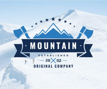 Journey Offer Mountains Icon in Blue Large Rectangle Design Template