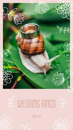 Wedding Rings offer with Snail on Leaf Instagram Story – шаблон для дизайну