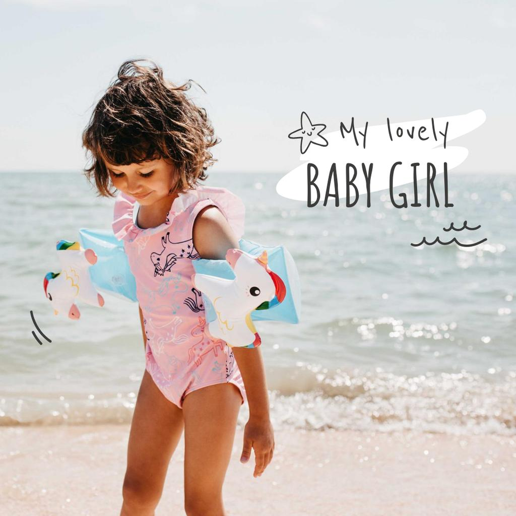 Cute Girl at the Beach — Crear un diseño