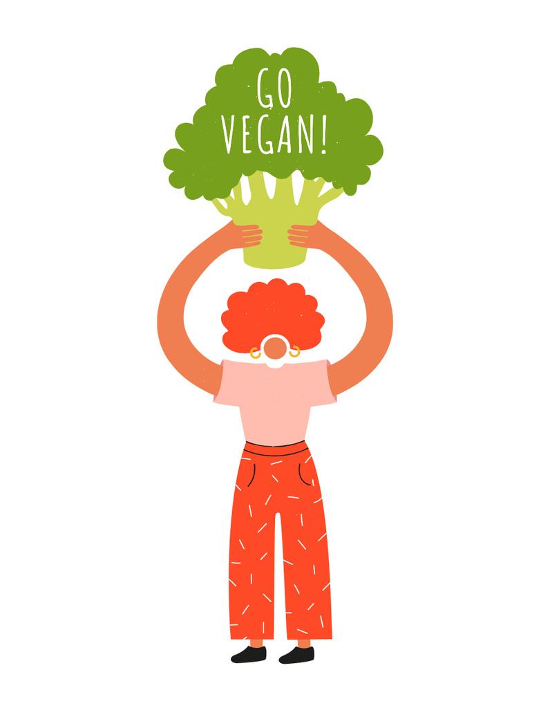 Curly Woman holding Broccoli — Crear un diseño