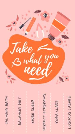 Beauty Ad with Cosmetics Products Illustration Instagram Video Story Modelo de Design