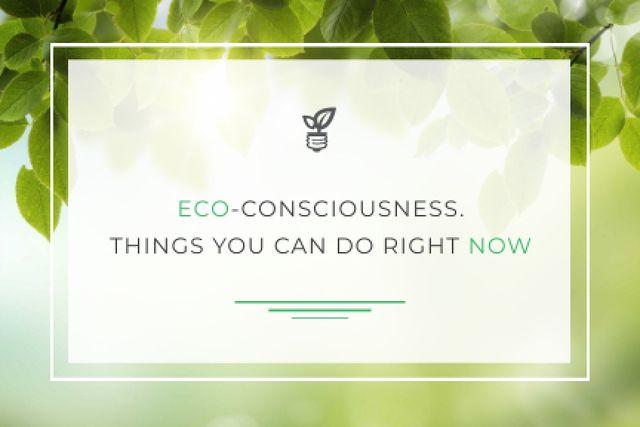 Eco-consciousness concept Gift Certificate – шаблон для дизайна