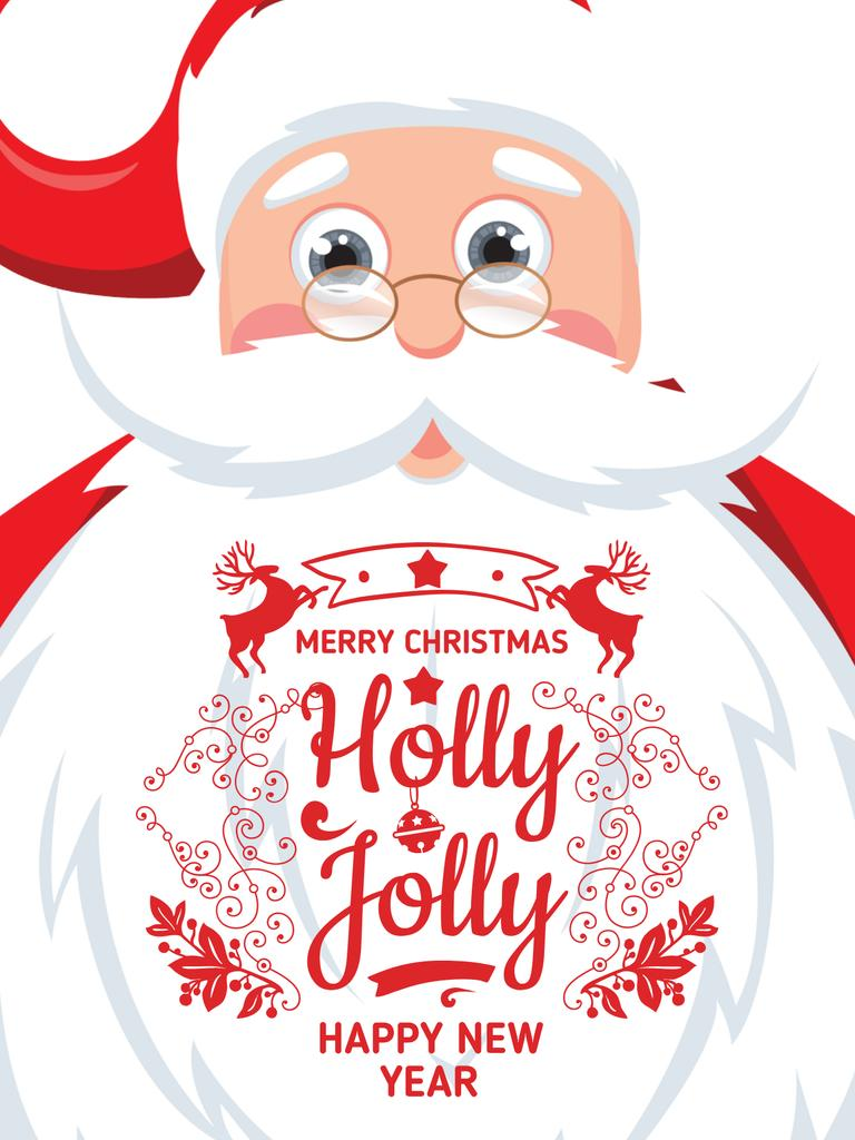 Christmas Holiday greeting Santa Claus Poster US – шаблон для дизайна