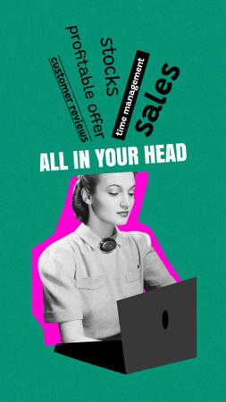 Plantilla de diseño de Busy Girl working on Laptop Instagram Story