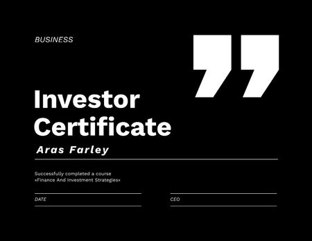 Designvorlage Finance Courses completion achievement für Certificate