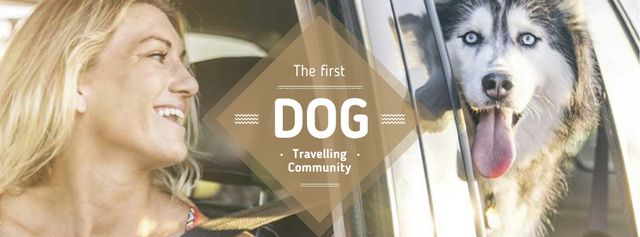 Travelling with Pet Woman and Dog in Car Facebook cover Modelo de Design