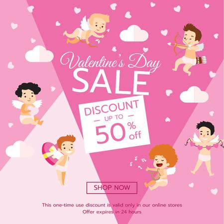 Valentine's Day funny Cupids in Pink Instagram AD – шаблон для дизайна