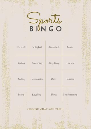 Designvorlage Sports Bingo List für Poster