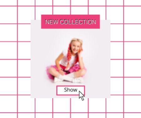 New Kids Collection Announcement with Stylish Little Girl Medium Rectangle Modelo de Design
