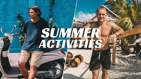 Designvorlage Summer Activities with Young Men and Moped für Youtube Thumbnail