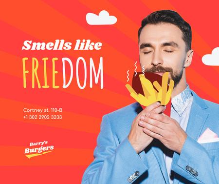 Funny Joke with Man holding French Fries Facebook – шаблон для дизайна