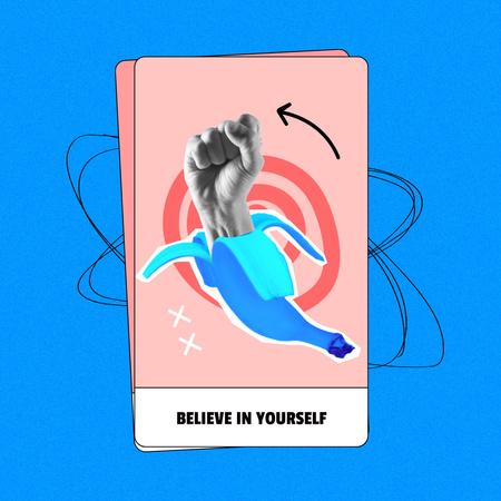 Funny Illustration of Fist in Banana Peel Instagram – шаблон для дизайну