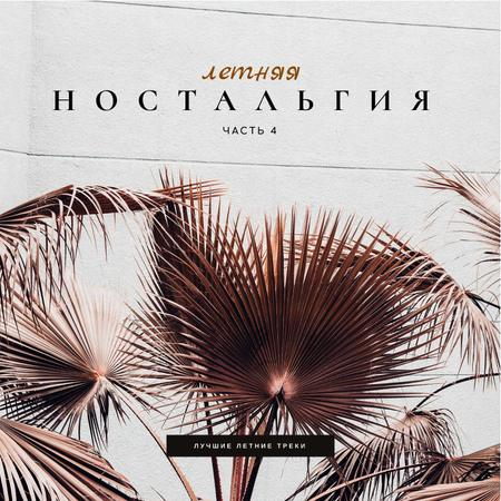 Summer Mood with Palm Leaves Album Cover – шаблон для дизайна