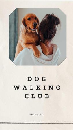 Plantilla de diseño de Girl holding Her Cute Dog Instagram Story