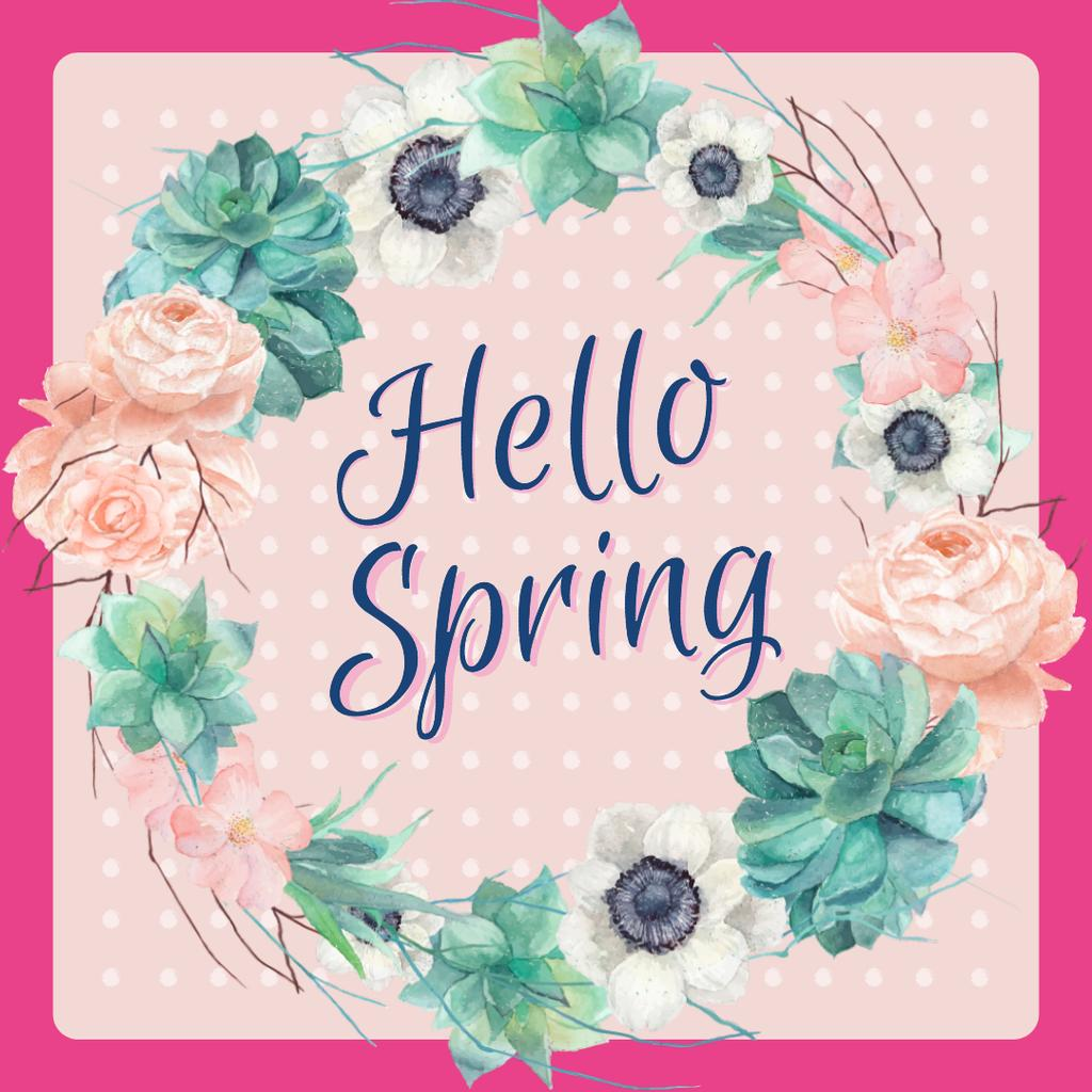 Spring flowers wreath in pink — Crear un diseño