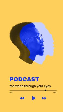Plantilla de diseño de Podcast Topic Announcement with Guy's Silhouette Instagram Story