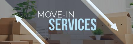 Template di design move-in services poster Twitter