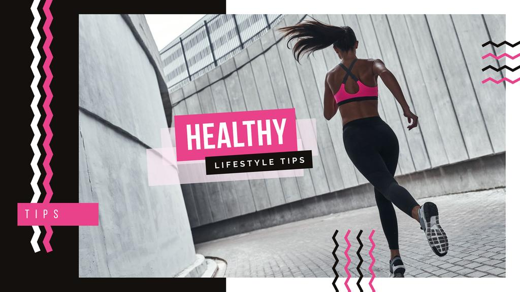 Girl running in city — Maak een ontwerp