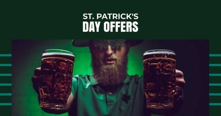 St.Patrick's Day Offer with Man holding Beer Facebook ADデザインテンプレート