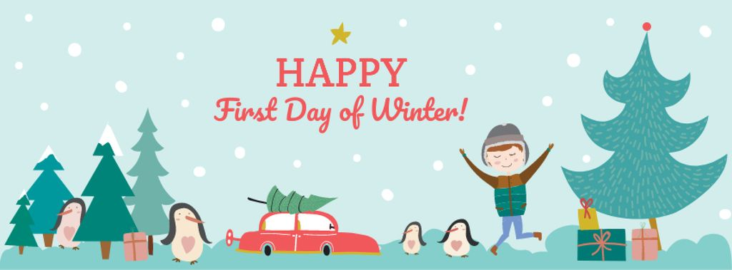 First day of Winter with Happy Kid — Create a Design