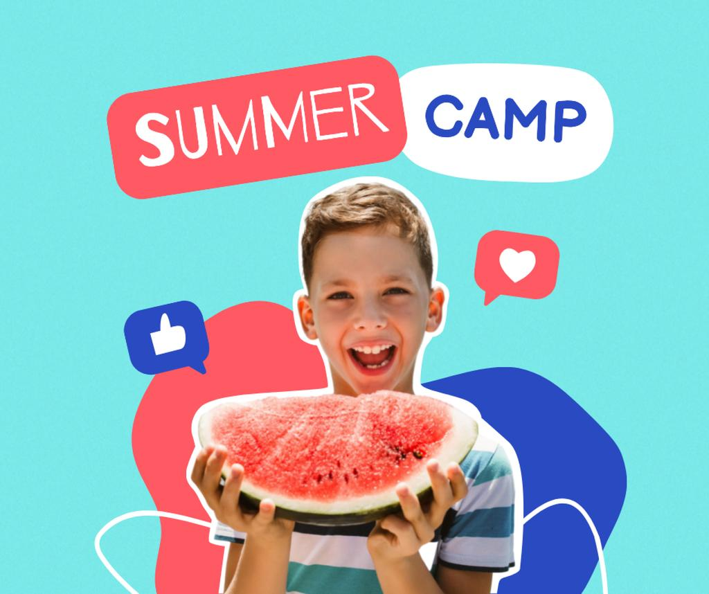 Ontwerpsjabloon van Facebook van Funny Little Boy holding Watermelon